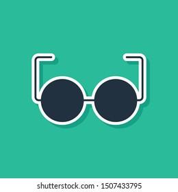 Blue Glasses icon isolated on green background. Eyeglass frame symbol.  Vector Illustration