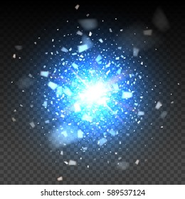 Blue glitter particles background effect. Light effect in an explosion on a black background. Vector illustration 3D, of realistic vector, EPS 10