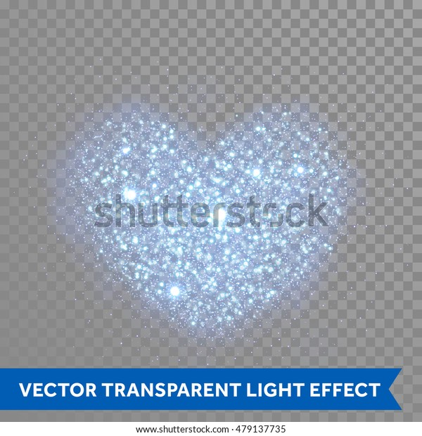 Blue glitter particles in heart shape. Sparkling diamond texture. Star dust glittering sparks in explosion on transparent christmas background. Vector love saint valentine greeting card