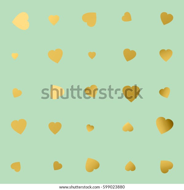 Blue glittering foil seamless pattern background with gold hearts