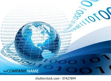 blue globe and binary code