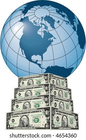 A blue globe sits atop a pedestal of dollar bills