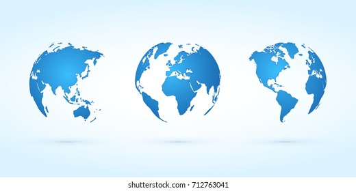 blue globes vector set planet earth