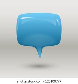 Blue glossy speech bubble, eps10 vector
