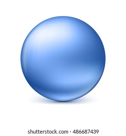 Blue glossy sphere isolated on white with shadow and reflections in the color of the sphere. Vector illustration for your design, easy to edit and change the size