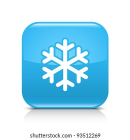 Blue glossy web button with low temperature sign snowflake symbol. Rounded square shape icon with black shadow and gray reflection on white background. This vector illustration saved in 8 eps