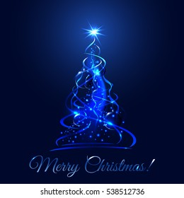 Blue glow xmas tree, elegant abstract christmas fir illustration with balls and ribbons, vector template