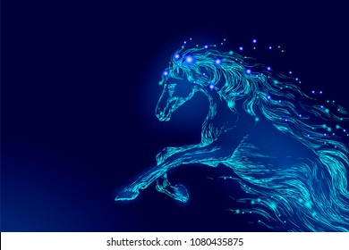 Blue glowing horse riding night sky star. Creative decoration magical backdrop shining cosmos space moon light fantasy background vector illustration