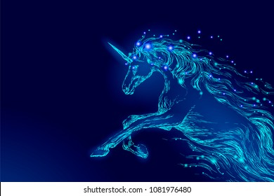 Blue glowing horse unicorn riding night sky star. Creative decoration magical backdrop shining cosmos space horn fairy myth moon light fantasy background vector illustration