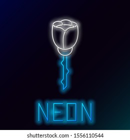 Blue glowing neon line Flower rose icon isolated on black background. Colorful outline concept. Vector Illustration