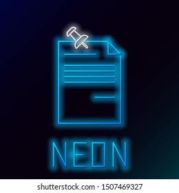 Blue glowing neon line Note paper with pinned pushbutton icon isolated on black background. Memo paper sign. Colorful outline concept. Vector Illustration