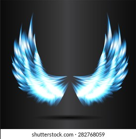 blue glowing, stylized angel wings on a black background. vector