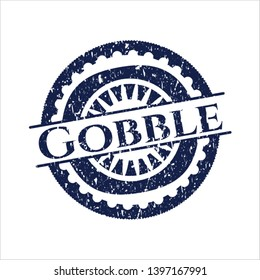 Blue Gobble rubber seal with grunge texture