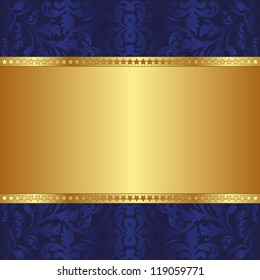blue and gold  background with ornaments