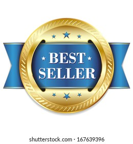 Blue gold best seller badge with ribbon