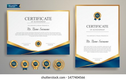 Blue and gold certificate of achievement border template with luxury badge and modern line pattern. For award, business, and education needs