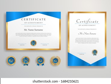 Blue and gold certificate of achievement border vector template with luxury badge and modern line pattern. For award, business, and education needs