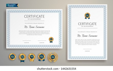 Blue and gold certificate of appreciation border template with luxury badge and modern line pattern