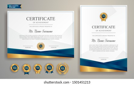Blue and gold certificate of appreciation border template with luxury badge and modern line pattern. For award, business, and education needs