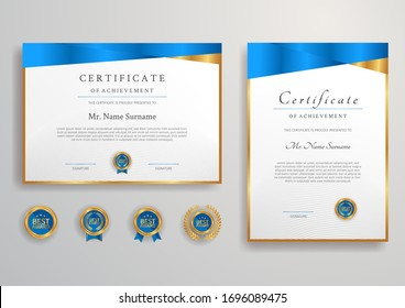 Blue and gold certificate with badge and border vector A4 template. For award, business, and education needs