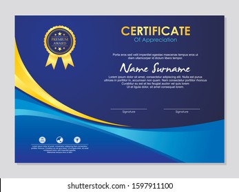 Blue and Gold Certificate Template, simple, modern, trendy and stylish template design vector