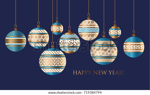 Blue and gold Christmas bauble decor stylized vector pattern for card, invitation, greetings. Small Xmas and New Year  tree decoration balls with ornament illustration on black background