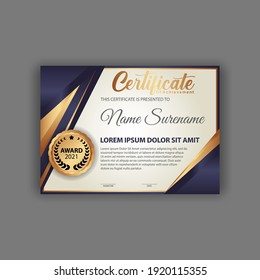 Blue and gold color certificate template design. Certificate of Achievement with a gold badge. Vector Templates