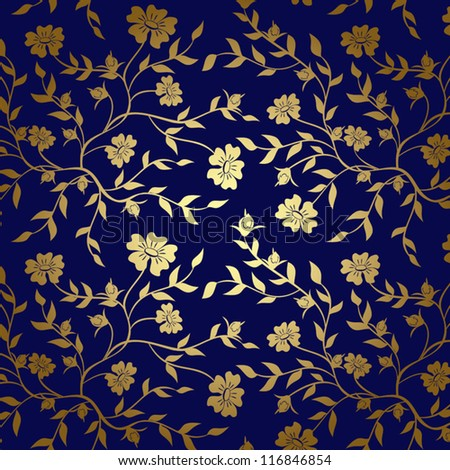 Blue And Gold Floral Texture For Background