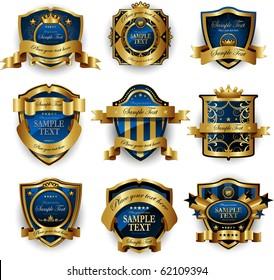 Blue gold framed labels