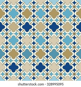 Blue and gold islamic seamless pattern. Oriental tartan texture. Abstract background. Winter ornament. Vintage wallpaper.