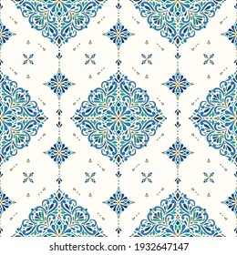 Blue and gold luxury seamless pattern on a white background. Vector ornament template. Traditional Turkish, Indian motifs. Great for fabric and textile, wallpaper, packaging or any desired idea.