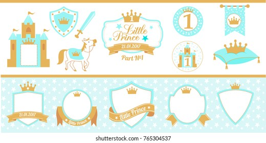 Blue and gold prince party decor. Medieval set. Cute happy birthday card template elements. Birthday party and boy baby shower design elements. Royal collection of little prince's labels (tag, badge).