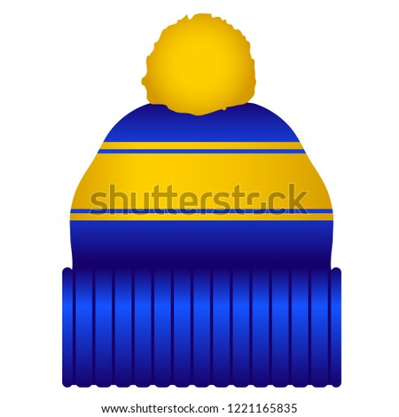 Blue and Gold Puff Ball Stocking Cap Beanie Hat Vector Icon Illustration 148b80c1b04