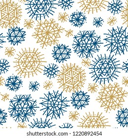 Blue and gold stars and snowflakes seamless pattern. Xmas  holiday simple motif. Christmas wrapping paper design.