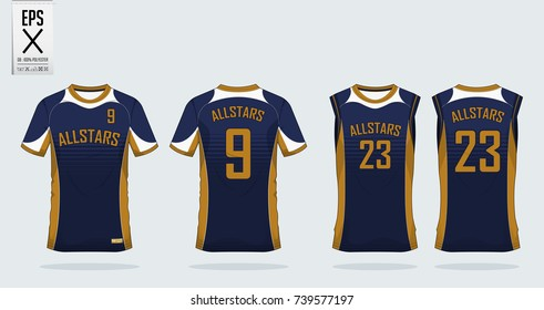 Blue and gold t-shirt sport design template for soccer jersey, football kit and tank top for basketball jersey. Sport uniform in front view and back view. T-shirt mock up for sport club. Vector.