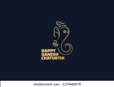 Blue & golden illustration of Lord Ganesha in Vector style with message Happy Ganesh Chaturthi. #10