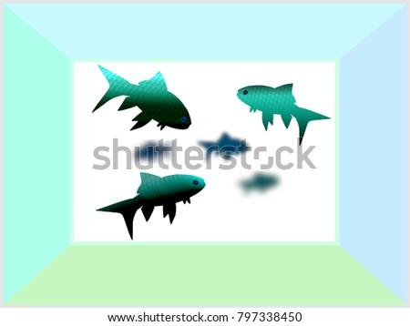 blue goldfish aquarium turquoise textures simple のベクター画像素材
