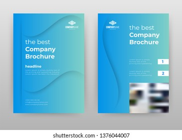Blue gradient business annual report brochure flyer design. Multipurpose abstract brochure template, include cover and back pages. Geometric flyer leaflet vector design. Vertical A4 format.