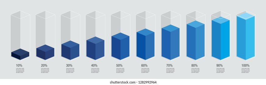 Blue gradient isometric chart bars, liquid histogram glass template, 10% to 100%. Flat design infocharts / infographics template with text, concept vector eps 10 isolated on white background,