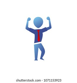 Blue Gradient Silhouette office worker man show strong arms front double bicep pose illustration