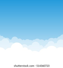 Blue gradient Sky and Clouds vector illustration with air effect. You can use it as a background and place your text.
