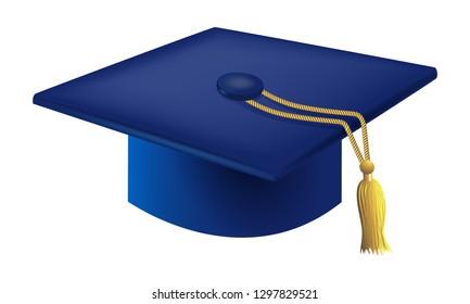 Blue Graduation Cap Vector
