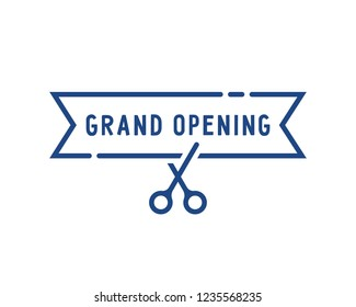 blue grand opening thin line icon. concept of linear invite congratulation for client of restaurant or cafe. flat stroke celebrate logotype and ad template graphic art isolated on white background