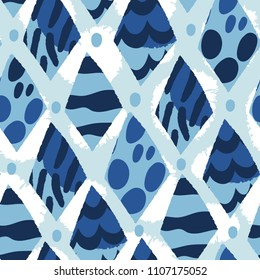 Blue graphic abstract seamless pattern.