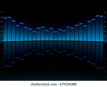 Blue Graphic Equalizer Display vector illustration with copy space. Head Up Display Equalizer.