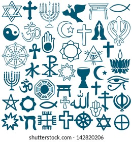 Blue graphic symbols of different religions as Christianity, Islam, Judaism, Buddhism, Jainism, Sikhism or Lamaism, on white background