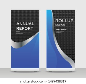 Blue gray black Abstract Shapes Modern Exhibition Advertising Trend Business Roll Up Banner Stand Poster Brochure flat design template creative concept. blue black Roll Up EPS. Presentation Cover