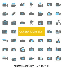 Blue and Gray Camera Icon set. vector icon set