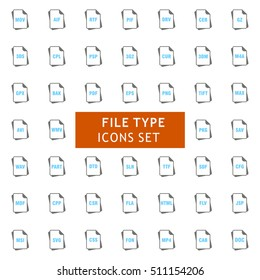 Blue and Gray File Type Icon set. vector icon set
