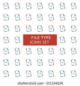 Blue and Gray Filetype Icon set. vector icon set